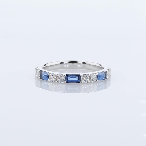 Alternating Baguette Sapphire and Diamond Ring in 14k White Gold