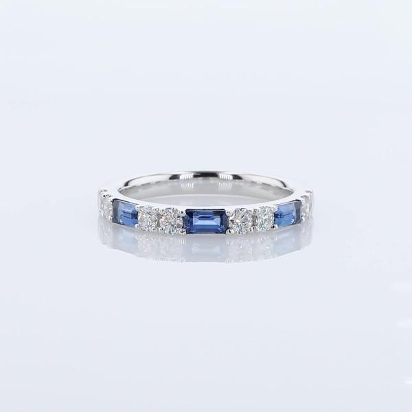 バゲットサファイアとダイヤモンドのオルタネートリング ( K14ホワイトゴールド )