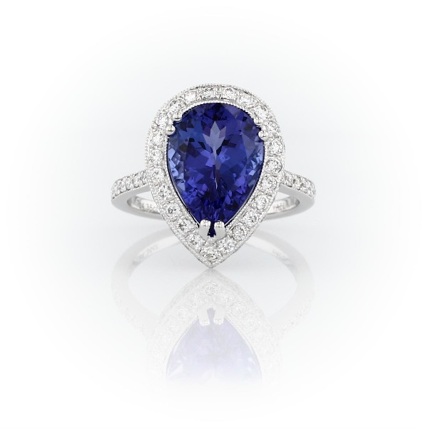 Pear-Shaped Tanzanite and Diamond Halo Cocktail Ring in 18k White Gold (4.38 ct. tw.)