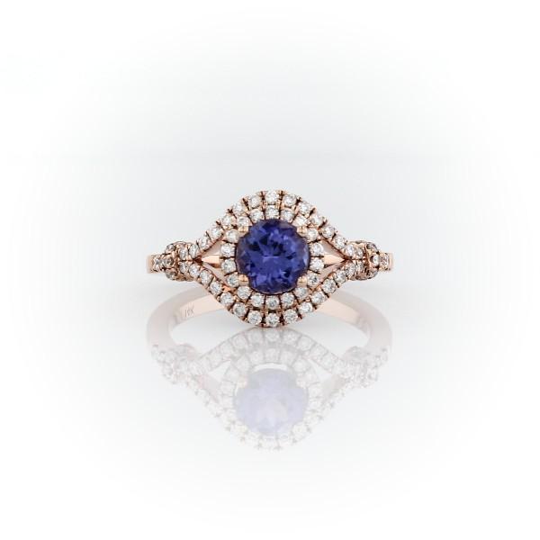 Tanzanite and Diamond Halo Elegant Ring in 14k Rose Gold (5.5mm)