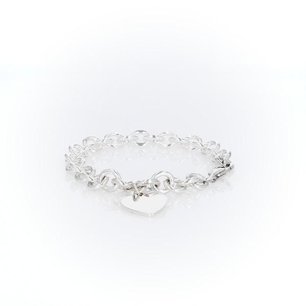 925 纯银小孩之心 - 小牌手链(6 1/2 英寸)