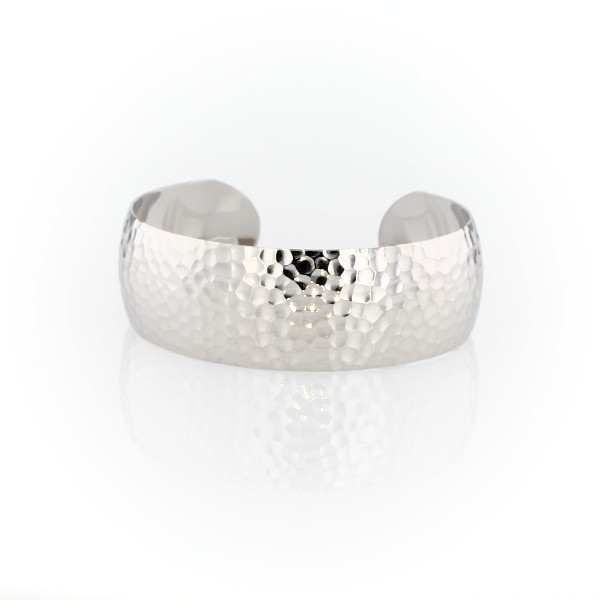 Hammered Cuff Bracelet in Sterling Silver