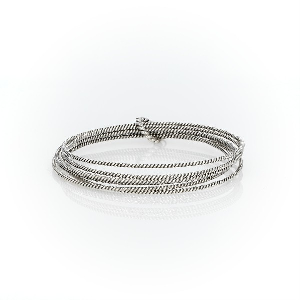 Roped Bangle Bracelets in Sterling Silver