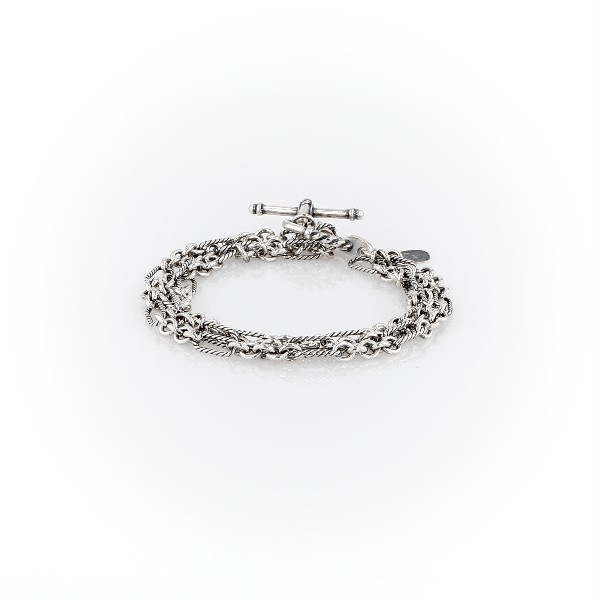 Oxidized Rope Link Bracelet in Sterling Silver