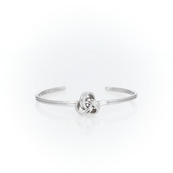 Grand bracelet manchette nœud d'amour luxueux en argent sterling