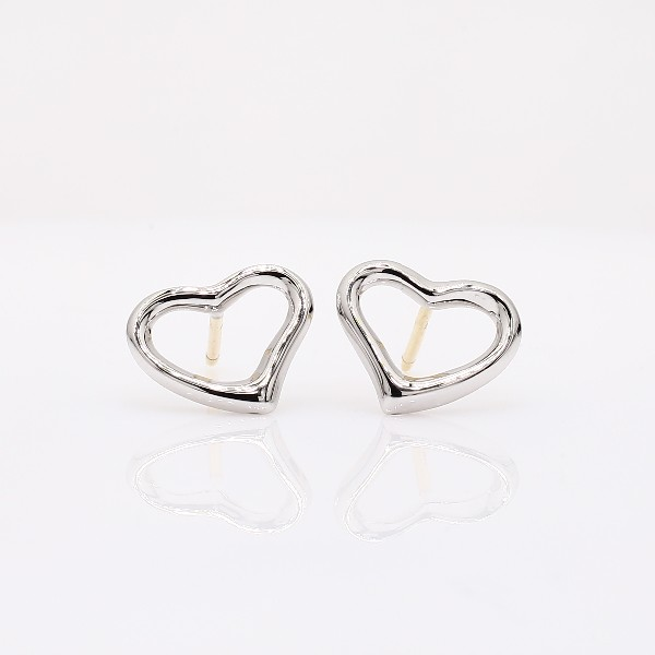 Open Heart Earrings In Sterling Silver With 14k Gold Posts Top View Image Magnified 360 Video