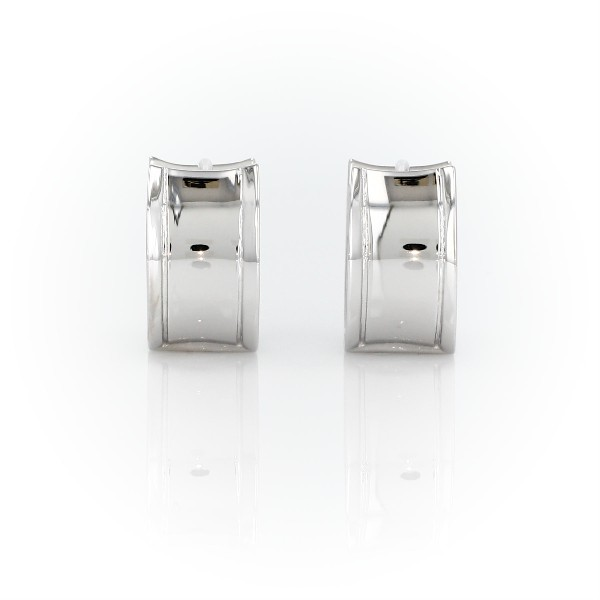 Wide Huggie Hoop Earrings in Sterling Silver