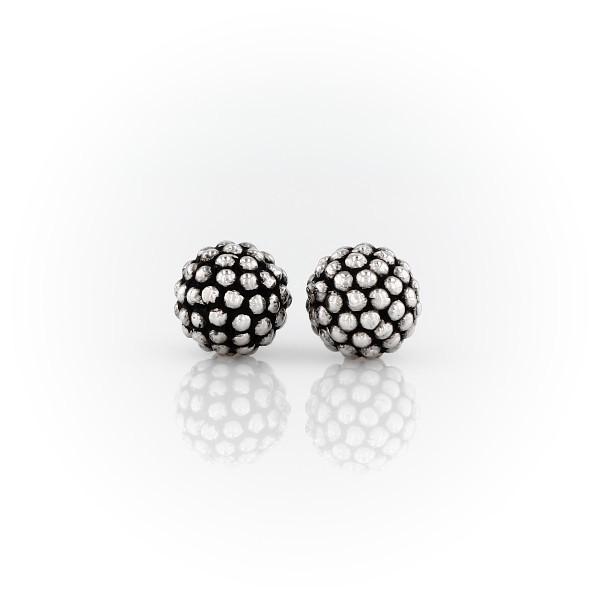 Caviar Beaded Stud Earrings in Sterling Silver (8mm)