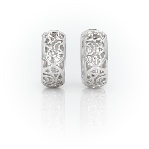 925 純銀設計圈形耳環(5/8 英寸)
