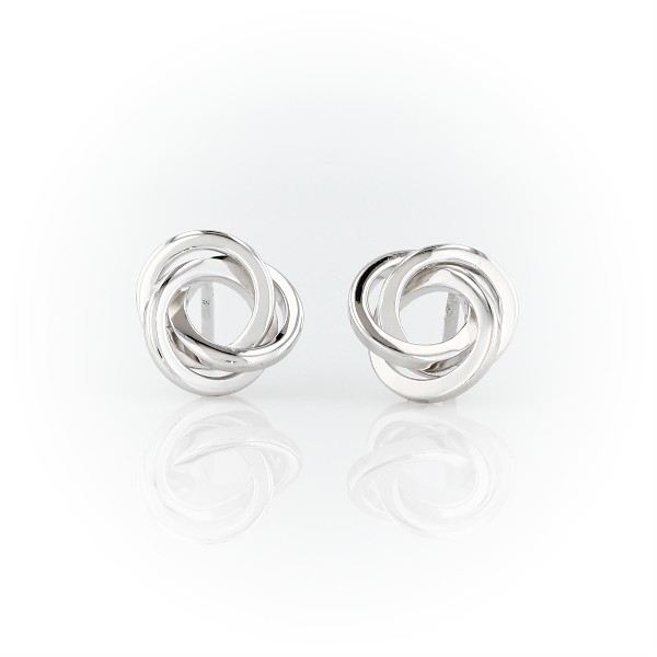 Flat Love Knot Stud Earrings in Sterling Silver