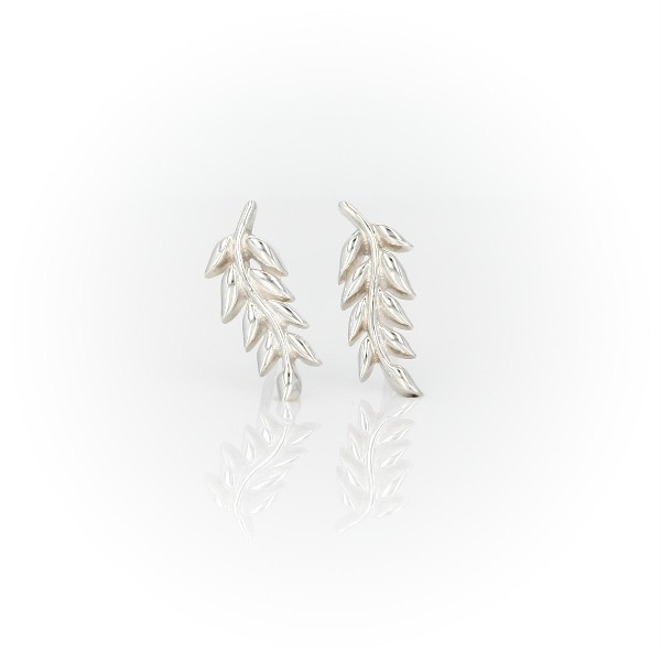 Leaf Stud Earrings in Sterling Silver