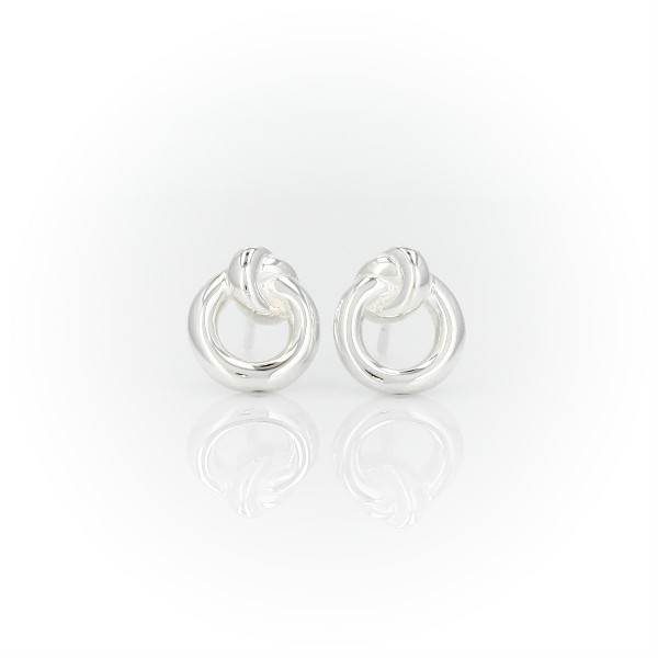 Amity Love Knot Stud Earrings in Sterling Silver
