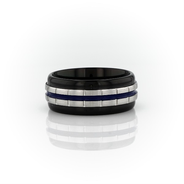 Alianza de bodas con eslabones y esmalte azul en Tungsteno (8,5mm)