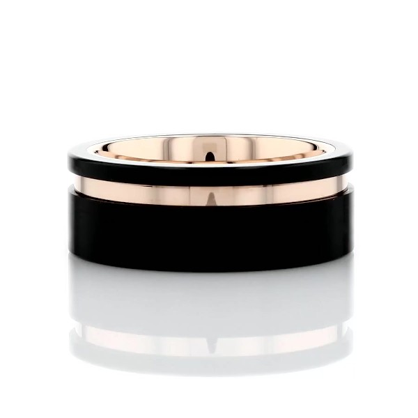 Asymmetrical Black & Rose Engraved Wedding Band in Tungsten (8mm)