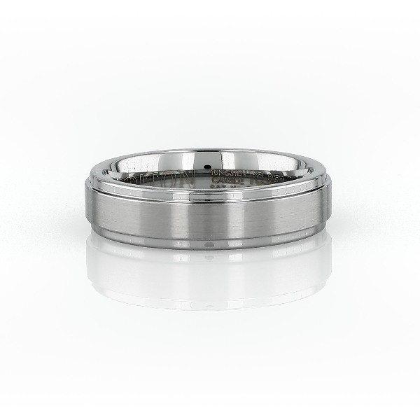 Brushed and Polished Comfort Fit Wedding Ring in Classic Gray Tungsten Carbide (6mm)