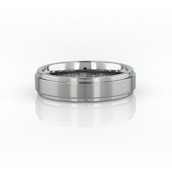 经典灰色碳化钨刷面处理及抛光内圈圆弧设计结婚戒指<br>(6毫米)