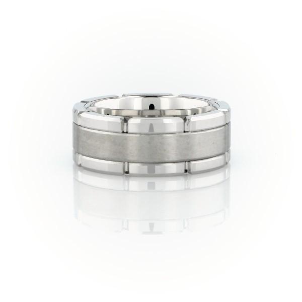 白色碳化钨链式结婚戒环<br>(8毫米)
