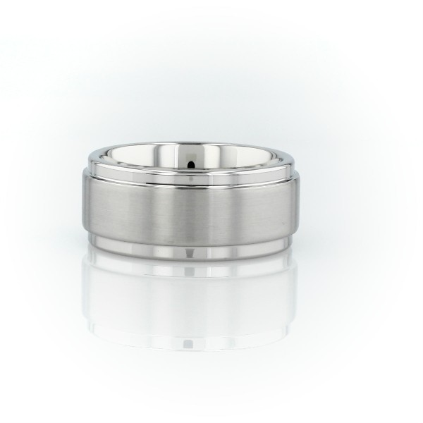 Alliance agréable à porter brossée et polie en carbure de tungstène blanc (9mm)