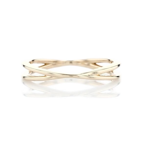 Contemporary Criss-Cross Ring in 14k Yellow Gold