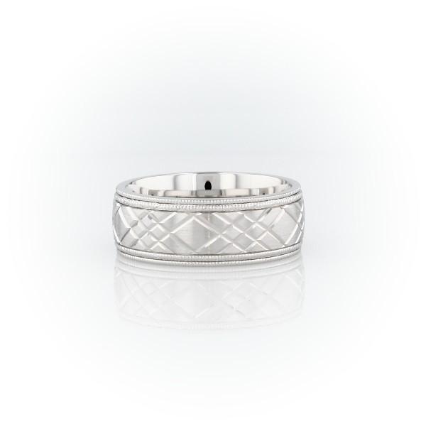 14k 白金瑞士切割設計雙鋸狀滾邊結婚戒指(7毫米)