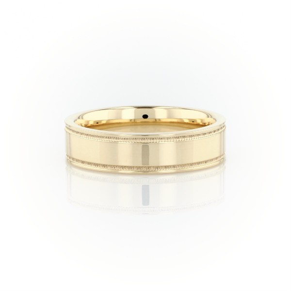Monique Lhuillier Milgrain Inlay Polished Band in 18k Yellow Gold (6mm)