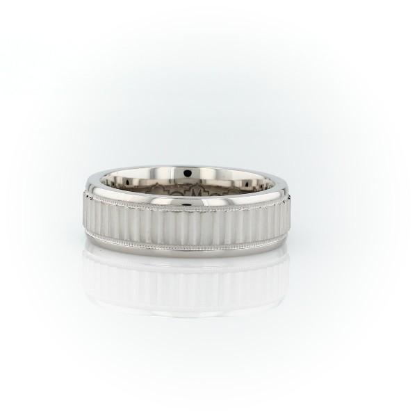 Monique Lhuillier Double Milgrain Textured Wedding Band in 18k White Gold (6mm)
