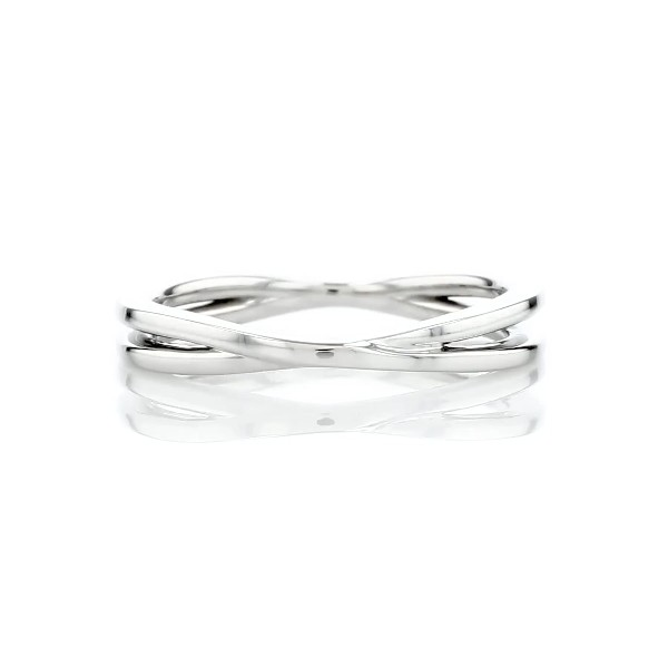 Contemporary Criss-Cross Ring in Platinum
