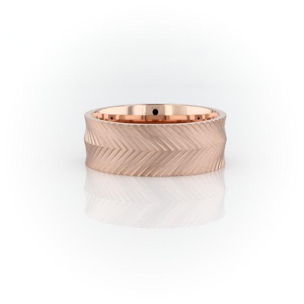 Herringbone Engraved Wedding Band in 14k Rose Gold (7mm)