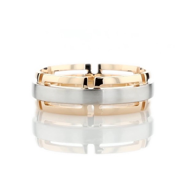 Two-Tone Modern Link Edge Wedding Ring in 14k White and Yellow Gold (7mm)
