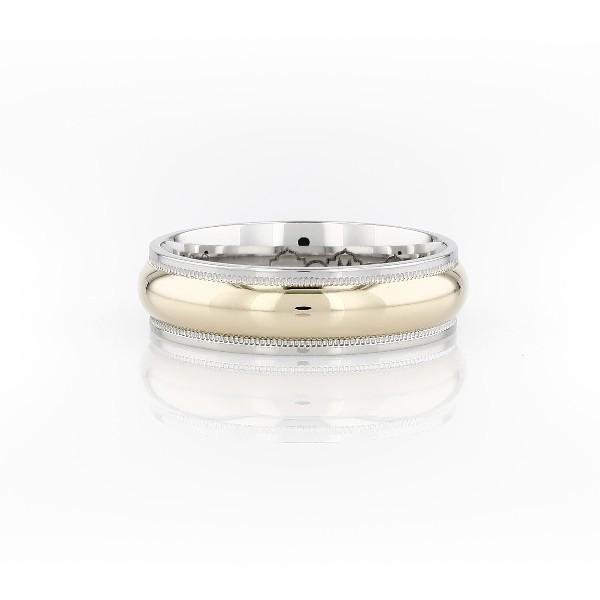 铂金与 18k 黄金锯状滚边双色戒指<br>(6毫米)