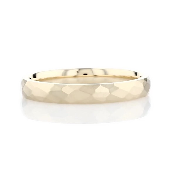 Modern Hammered Wedding Ring in 14k Yellow Gold (3mm)