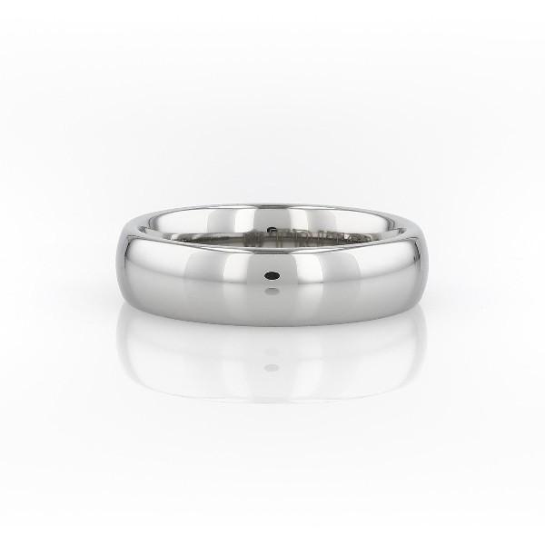 白色碳化钨内圈圆弧设计结婚戒指<br>(6毫米)