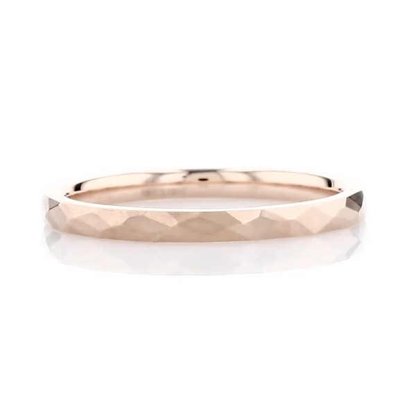 Alliance martelée moderne en or rose 14 carats (2 mm)