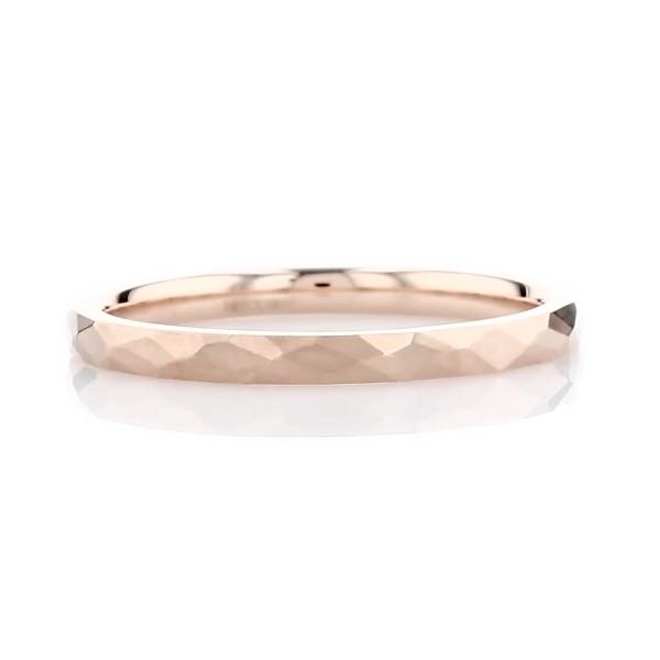 14k 玫瑰金現代風錘擊工法結婚戒指(2毫米)
