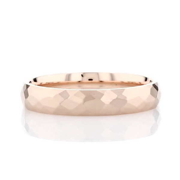 Modern Hammered Wedding Ring in 14k Rose Gold (4mm)