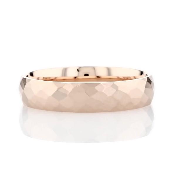 Modern Hammered Wedding Ring in 14k Rose Gold (5mm)