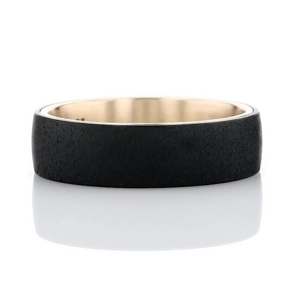 Two-Tone Stone Finish Wedding Ring in Tantalum and 14k Yellow Gold (6.5mm)