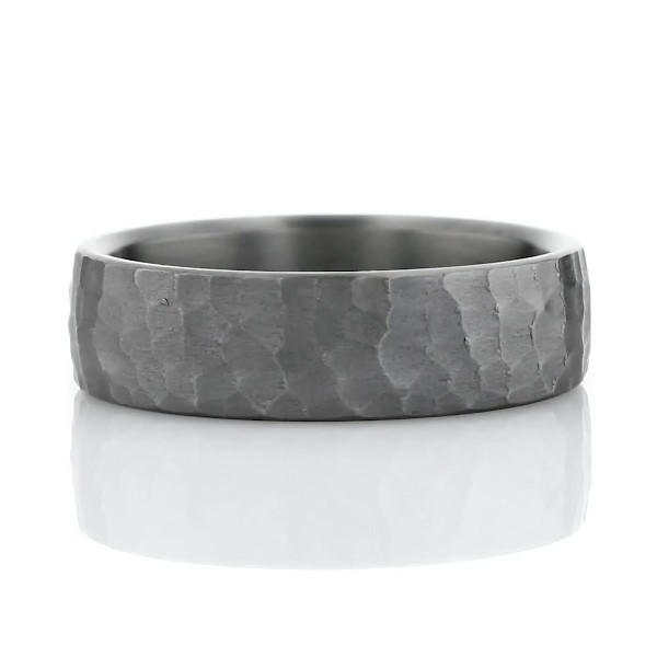 Hammered Wedding Band in Tantalum (6.5mm)