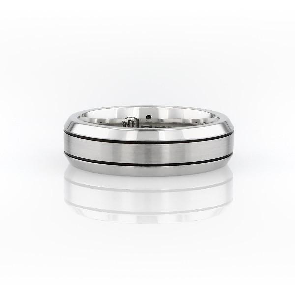 Beveled Edge Matte Wedding Ring in Cobalt (7 mm)