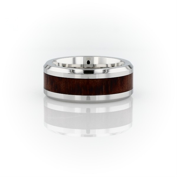 Alliance avec incrustation en bois en cobalt (8mm)
