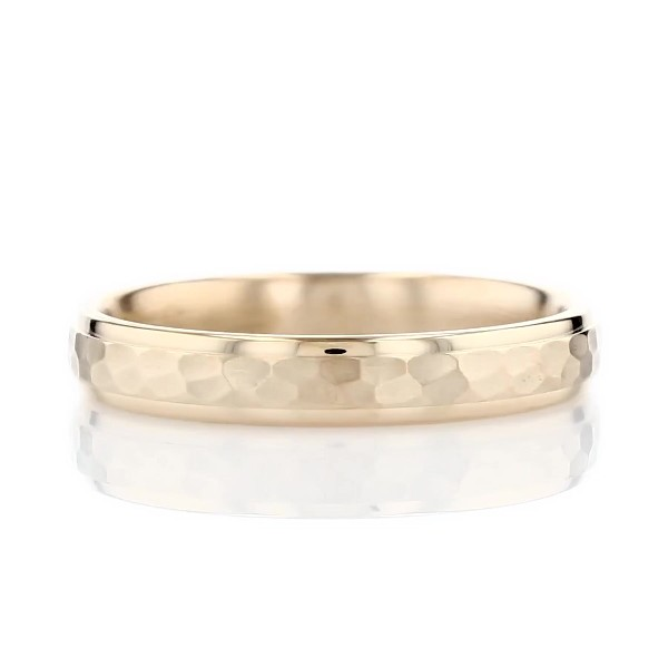 High Polish Hammered Wedding Ring in 14k Yellow Gold (4mm)