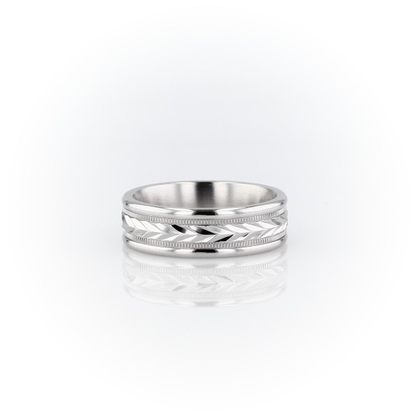 Hand-Engraved Wheat and Milgrain Wedding Band in 14k White Gold (6mm)
