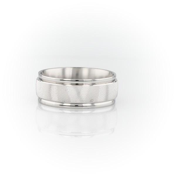 Alianza de bodas con incrustación texturada tipo malla en oro blanco de 14 k (7mm)