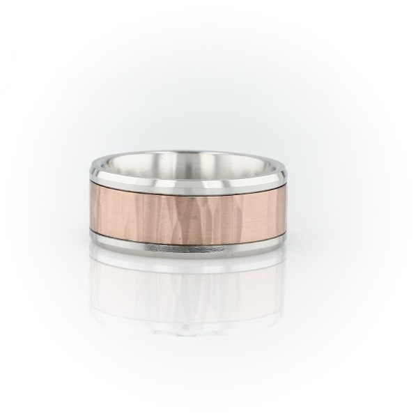 Hammered Inlay Wedding Band in 14k White and Rose Gold (8mm)