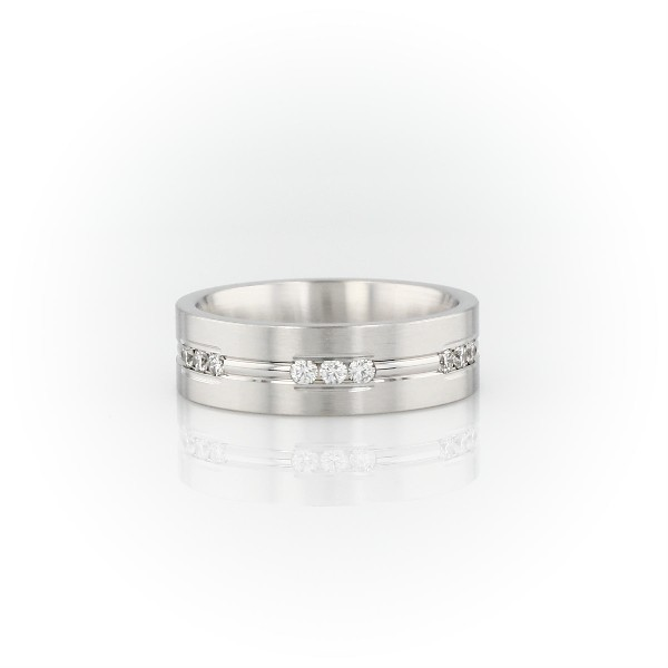 Diamond Trios Inlay Wedding Band in 14k White Gold (6mm)
