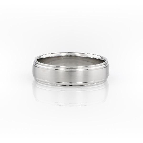 鈀雙嵌內圈卜身設計結婚戒指(6毫米)