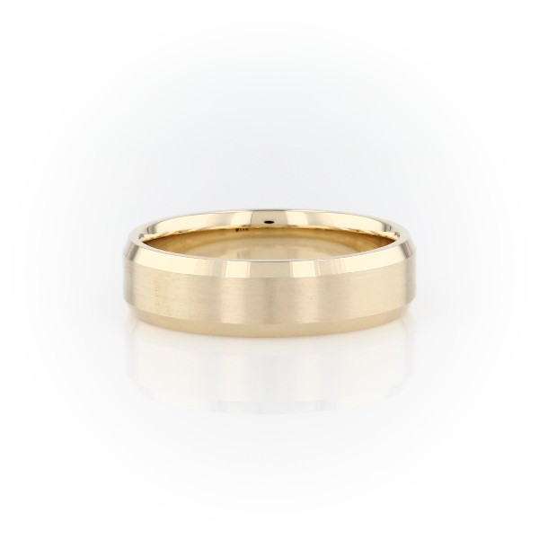 Beveled Edge Matte Wedding Ring in 14k Yellow Gold (6mm)