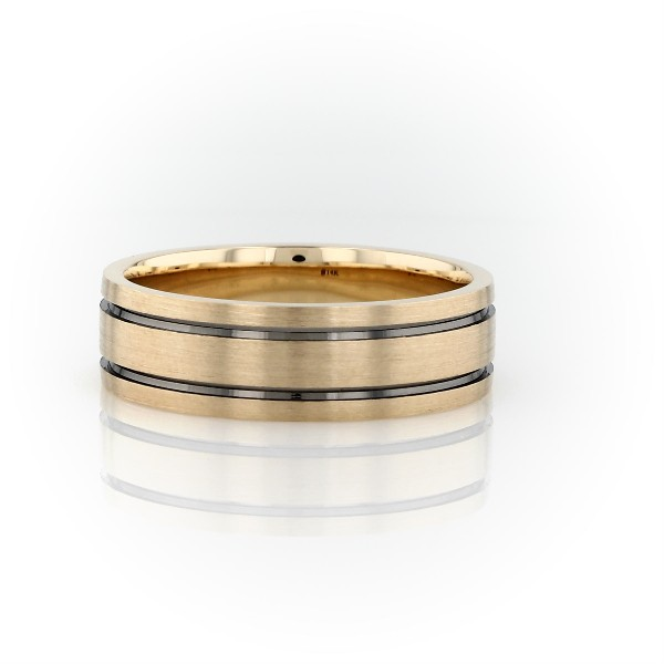Black Rhodium Inlay Wedding Band in 14K Yellow Gold (7mm)