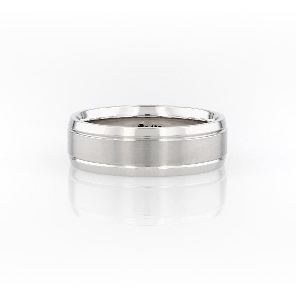 14k 白金双嵌内圈圆弧设计结婚戒指(7毫米)