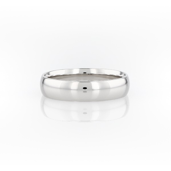 Alliance confort légère en or blanc 14 carats (5 mm)
